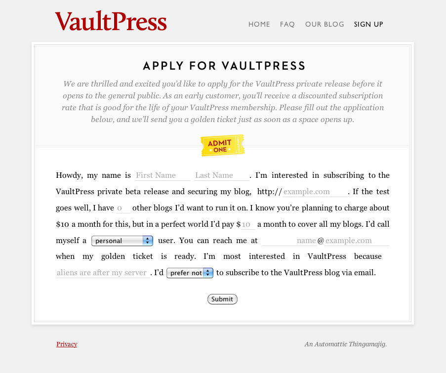 davide's version of vaultpress